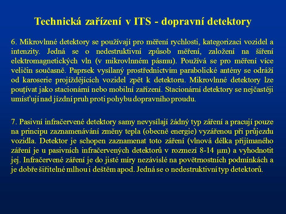 Technická zařízení v ITS - dopravní detektory 6. Mikrovlnné detektory se používají pro měření rychlosti, kategorizaci vozidel a intenzity. Jedná se o