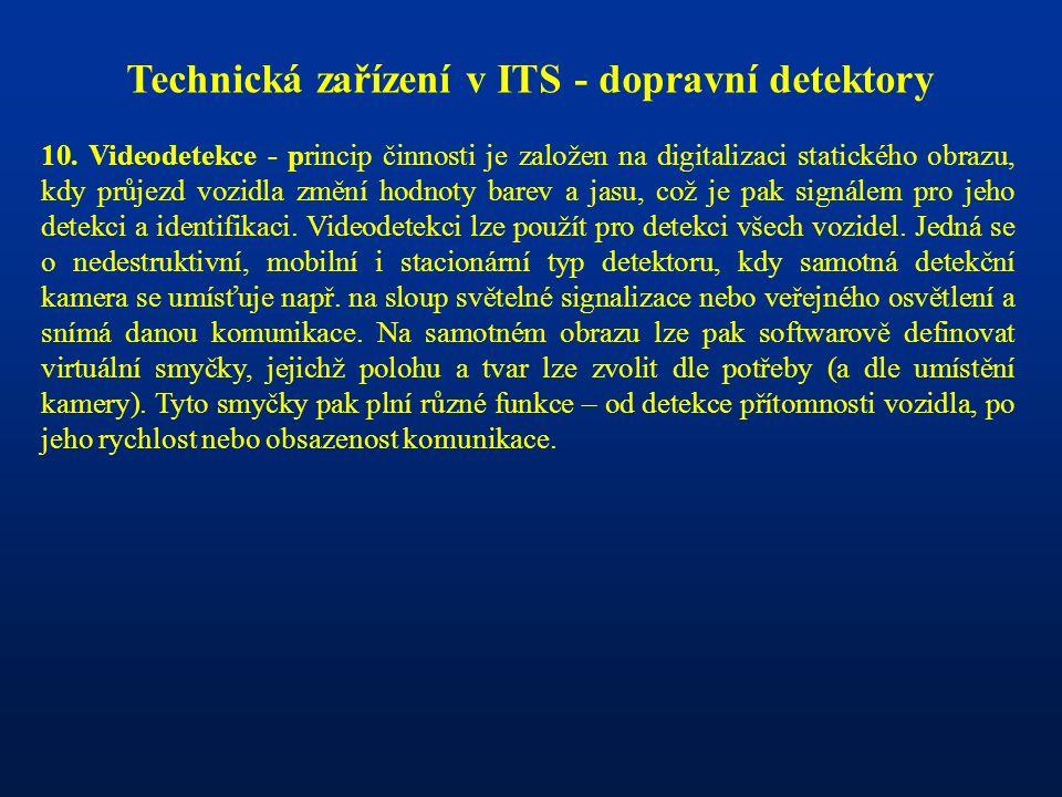 Technická zařízení v ITS - dopravní detektory 10. Videodetekce - princip činnosti je založen na digitalizaci statického obrazu, kdy průjezd vozidla zm