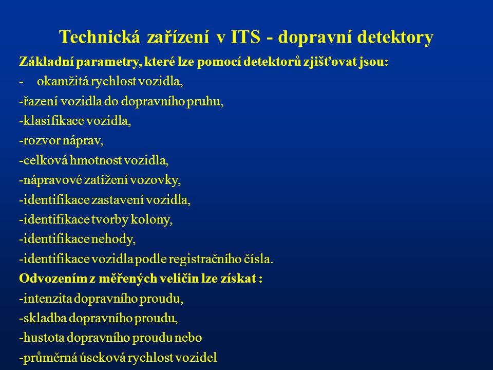 Technická zařízení v ITS - dopravní detektory Základní parametry, které lze pomocí detektorů zjišťovat jsou: - okamžitá rychlost vozidla, -řazení vozi