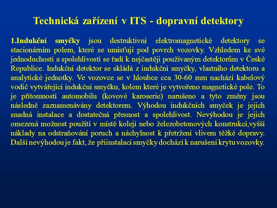 Technická zařízení v ITS - dopravní detektory 1.Indukční smyčky jsou destruktivní elektromagnetické detektory se stacionárním polem, které se umísťují pod povrch vozovky.