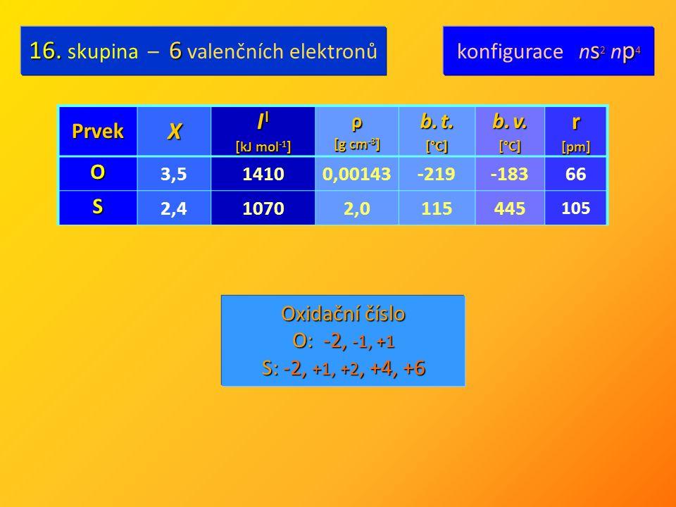 PrvekX I I [kJ mol -1 ] ρ [g cm -3 ] b. t. [°C] b. v. [°C] r [pm] O 3,514100,00143-219-18366 S 2,410702,0115445 105 16.6 16. skupina – 6 valenčních el