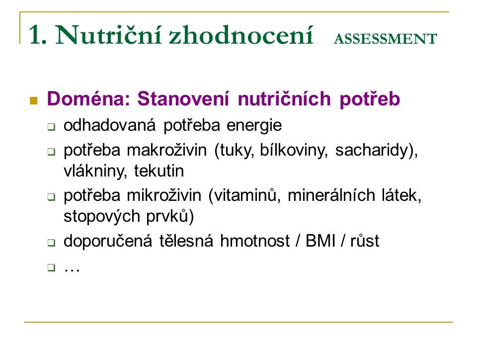 1. Nutriční zhodnocení ASSESSMENT Doména: Stanovení nutričních potřeb  odhadovaná potřeba energie  potřeba makroživin (tuky, bílkoviny, sacharidy),