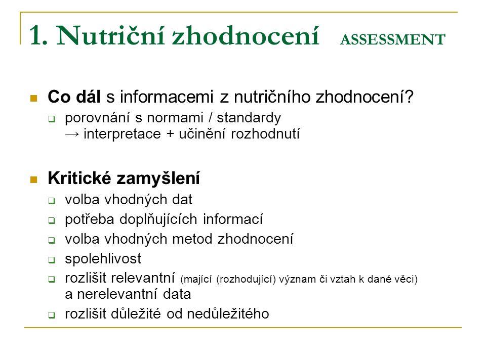 1. Nutriční zhodnocení ASSESSMENT Co dál s informacemi z nutričního zhodnocení.