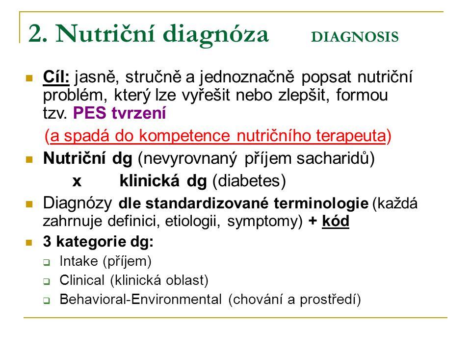2. Nutriční diagnóza DIAGNOSIS Cíl: jasně, stručně a jednoznačně popsat nutriční problém, který lze vyřešit nebo zlepšit, formou tzv. PES tvrzení (a s