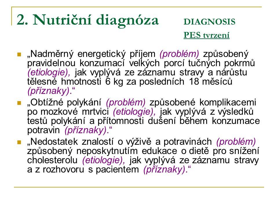 """2. Nutriční diagnóza DIAGNOSIS PES tvrzení """"Nadměrný energetický příjem (problém) způsobený pravidelnou konzumací velkých porcí tučných pokrmů (etiolo"""