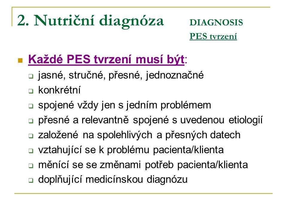 2. Nutriční diagnóza DIAGNOSIS PES tvrzení Každé PES tvrzení musí být:  jasné, stručné, přesné, jednoznačné  konkrétní  spojené vždy jen s jedním p