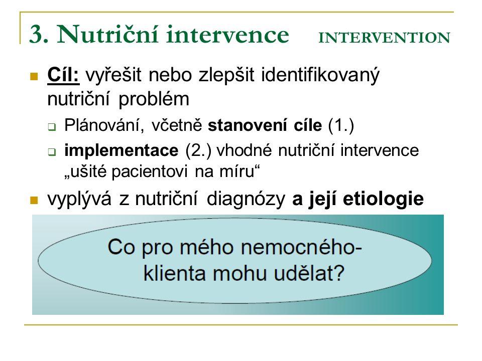 3. Nutriční intervence INTERVENTION Cíl: vyřešit nebo zlepšit identifikovaný nutriční problém  Plánování, včetně stanovení cíle (1.)  implementace (