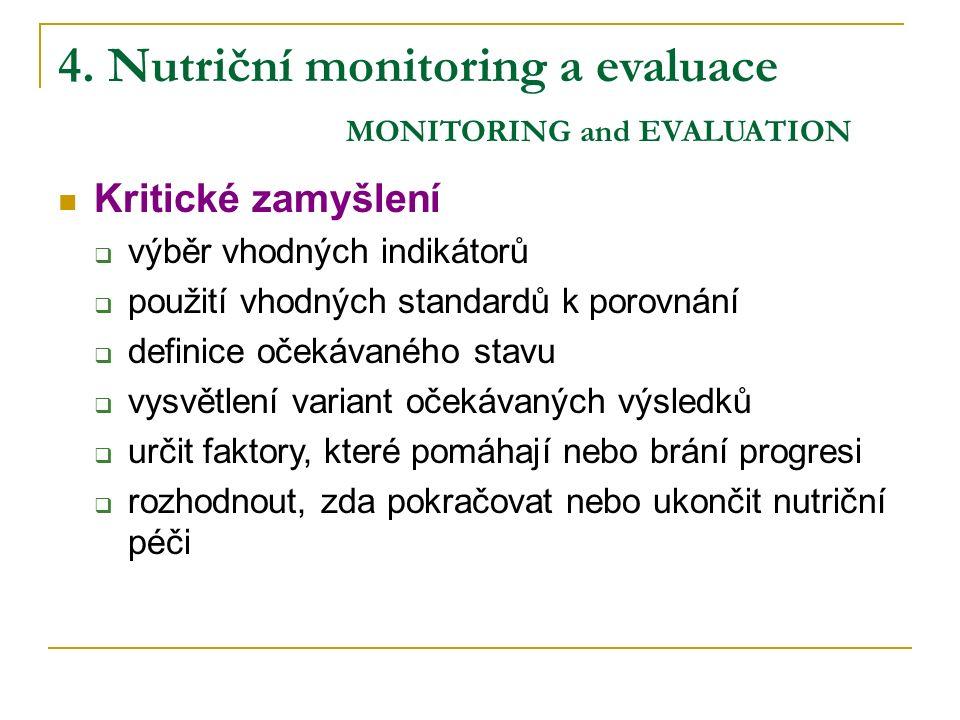 4. Nutriční monitoring a evaluace MONITORING and EVALUATION Kritické zamyšlení  výběr vhodných indikátorů  použití vhodných standardů k porovnání 