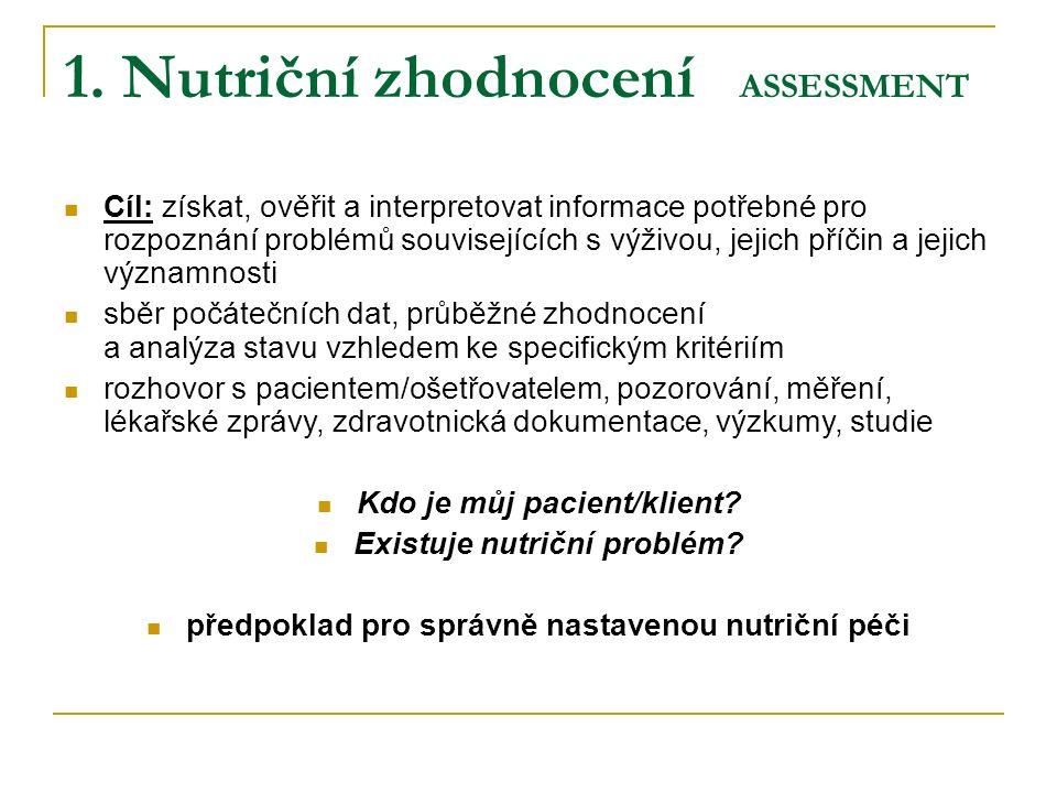 1. Nutriční zhodnocení ASSESSMENT Cíl: získat, ověřit a interpretovat informace potřebné pro rozpoznání problémů souvisejících s výživou, jejich příči