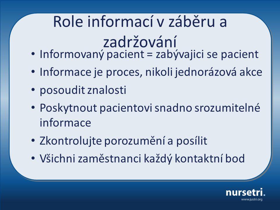 Role informací v záběru a zadržování Informovaný pacient = zabývajici se pacient Informace je proces, nikoli jednorázová akce posoudit znalosti Poskytnout pacientovi snadno srozumitelné informace Zkontrolujte porozumění a posílit Všichni zaměstnanci každý kontaktní bod