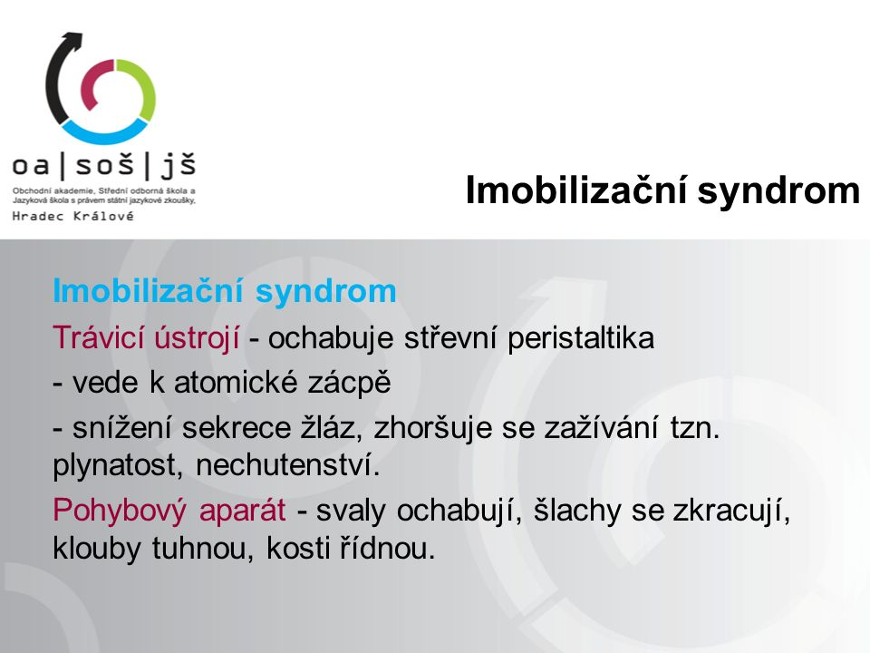 Imobilizační syndrom Trávicí ústrojí - ochabuje střevní peristaltika - vede k atomické zácpě - snížení sekrece žláz, zhoršuje se zažívání tzn.