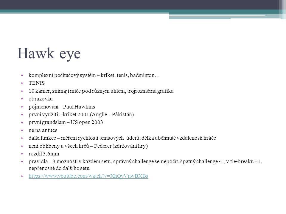 Hawk eye komplexní počítačový systém – kriket, tenis, badminton… TENIS 10 kamer, snímají míče pod různým úhlem, trojrozměrná grafika obrazovka pojmeno