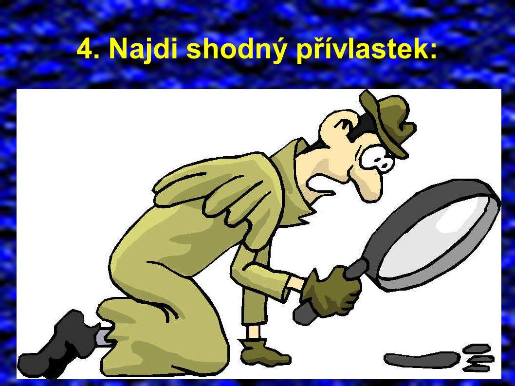 4. Najdi shodný přívlastek: