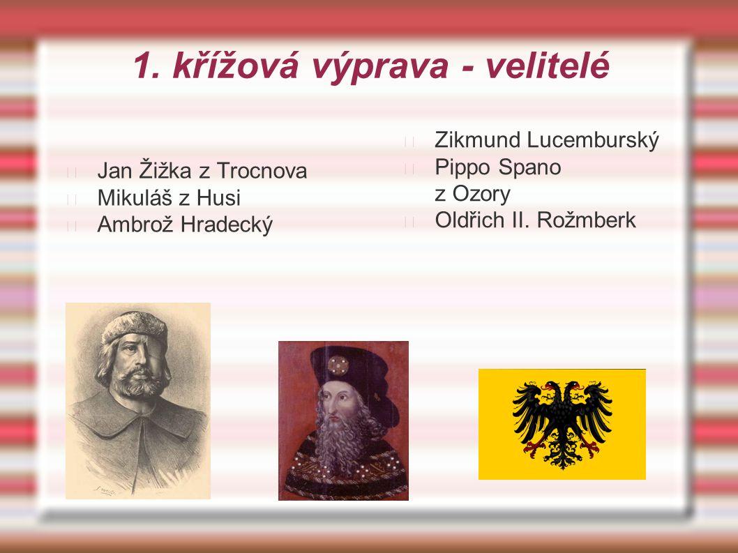 1. křížová výprava - velitelé Jan Žižka z Trocnova Mikuláš z Husi Ambrož Hradecký Zikmund Lucemburský Pippo Spano z Ozory Oldřich II. Rožmberk