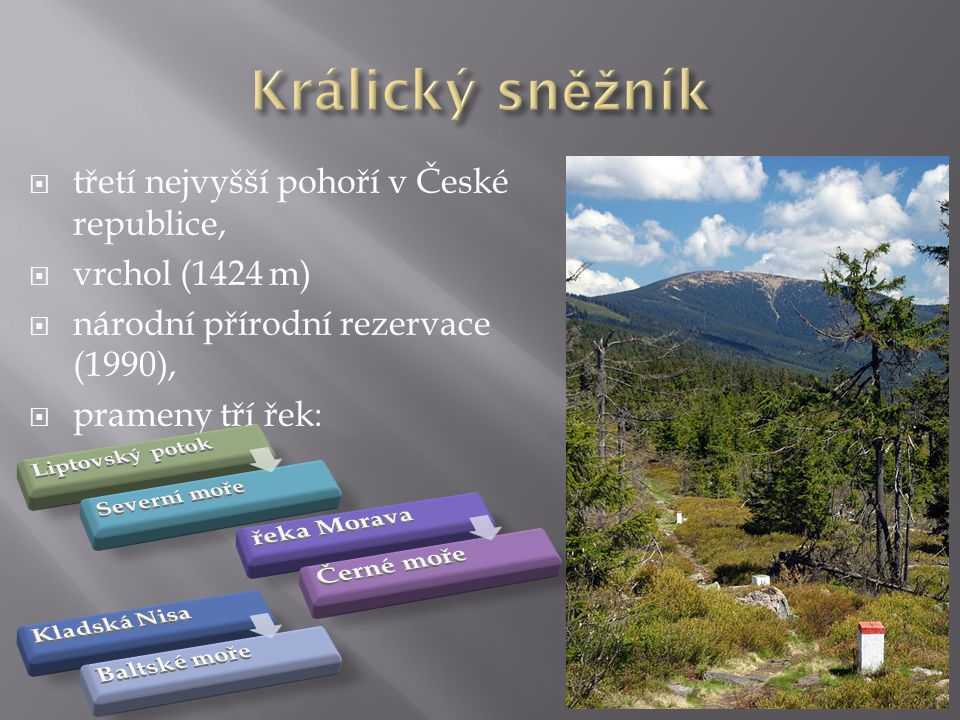  třetí nejvyšší pohoří v České republice,  vrchol (1424 m)  národní přírodní rezervace (1990),  prameny tří řek: