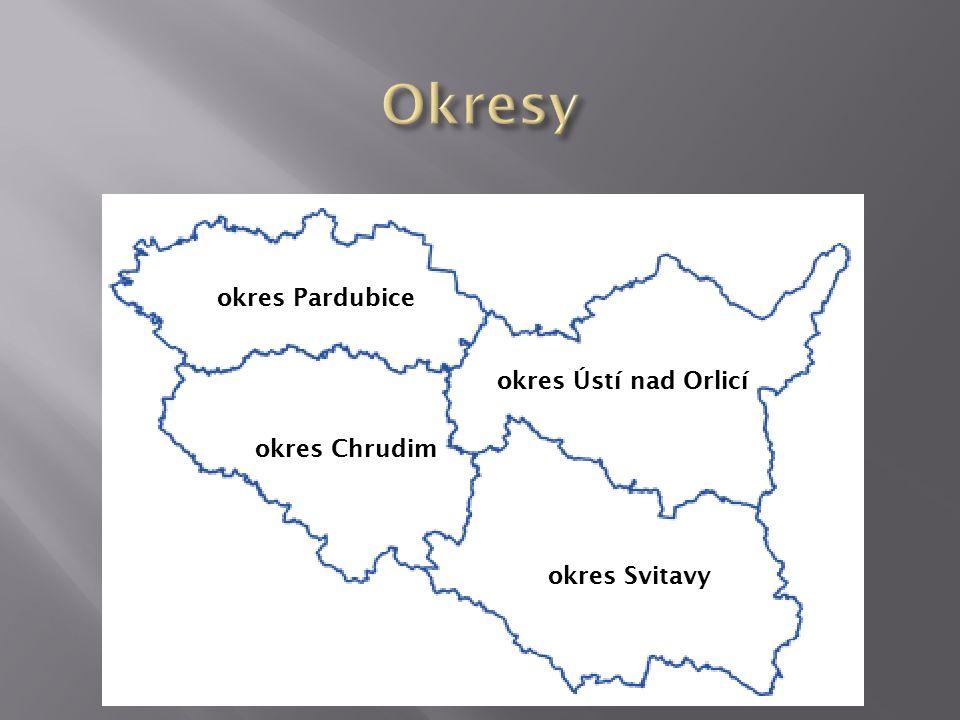 okres Pardubice okres Chrudim okres Ústí nad Orlicí okres Svitavy