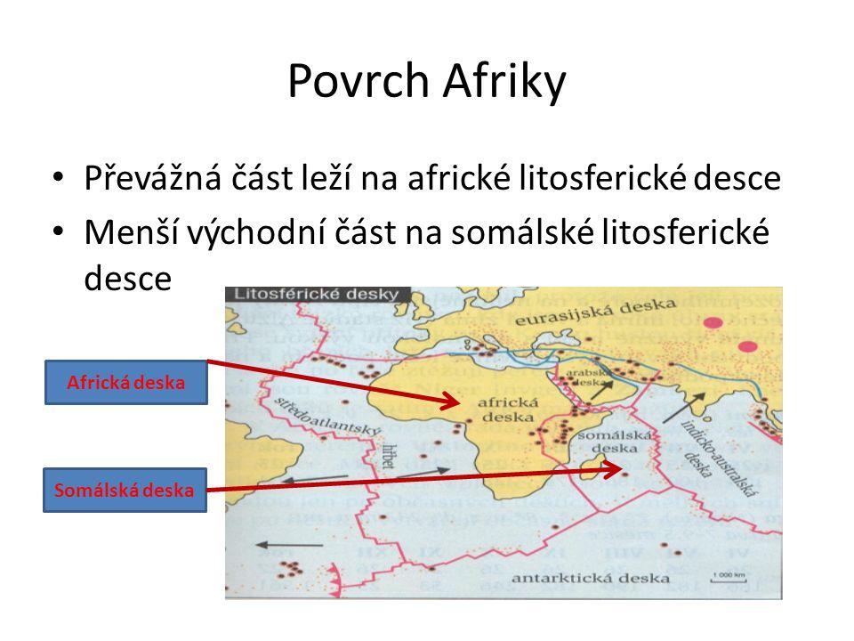 Povrch Afriky Převážná část leží na africké litosferické desce Menší východní část na somálské litosferické desce Africká deska Somálská deska