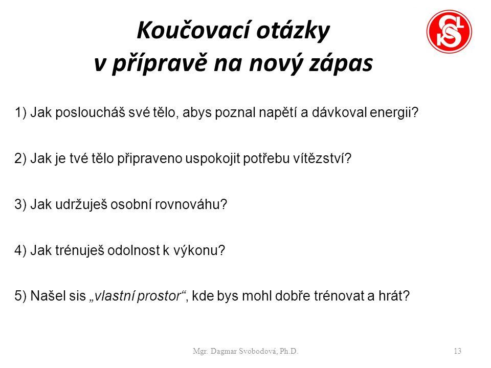 Koučovací otázky v přípravě na nový zápas Mgr. Dagmar Svobodová, Ph.D.