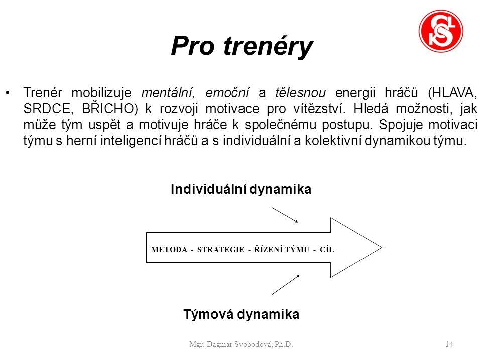 Pro trenéry Trenér mobilizuje mentální, emoční a tělesnou energii hráčů (HLAVA, SRDCE, BŘICHO) k rozvoji motivace pro vítězství.