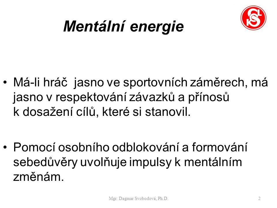 Mentální energie Má-li hráč jasno ve sportovních záměrech, má jasno v respektování závazků a přínosů k dosažení cílů, které si stanovil.