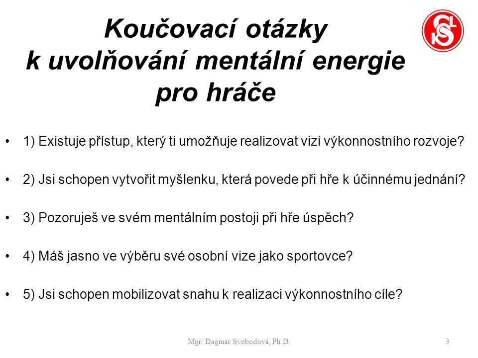 Koučovací otázky k uvolňování mentální energie pro hráče 1) Existuje přístup, který ti umožňuje realizovat vizi výkonnostního rozvoje.