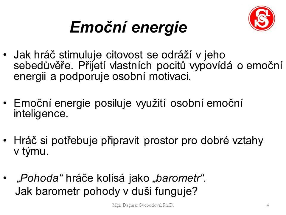 Emoční energie Jak hráč stimuluje citovost se odráží v jeho sebedůvěře.