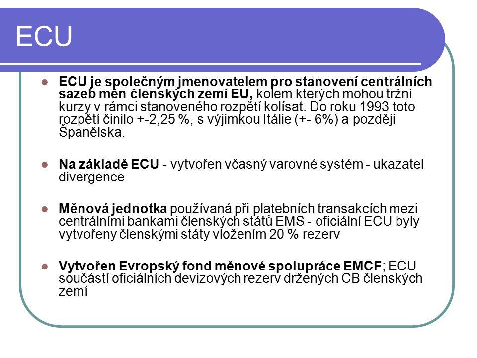 ECU ECU je společným jmenovatelem pro stanovení centrálních sazeb měn členských zemí EU, kolem kterých mohou tržní kurzy v rámci stanoveného rozpětí kolísat.