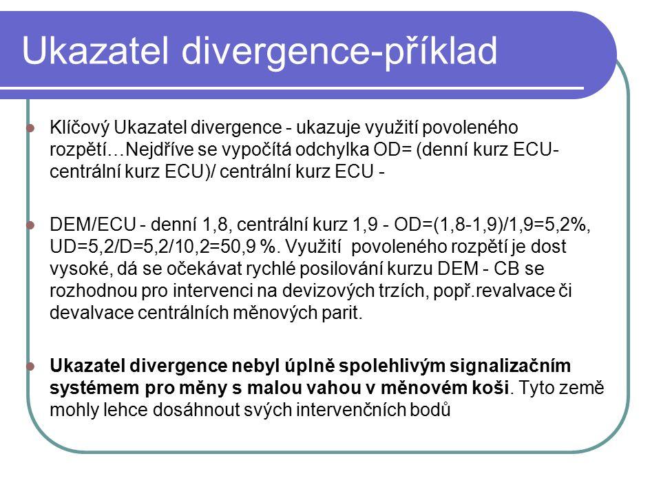 Ukazatel divergence-příklad Klíčový Ukazatel divergence - ukazuje využití povoleného rozpětí…Nejdříve se vypočítá odchylka OD= (denní kurz ECU- centrální kurz ECU)/ centrální kurz ECU - DEM/ECU - denní 1,8, centrální kurz 1,9 - OD=(1,8-1,9)/1,9=5,2%, UD=5,2/D=5,2/10,2=50,9 %.