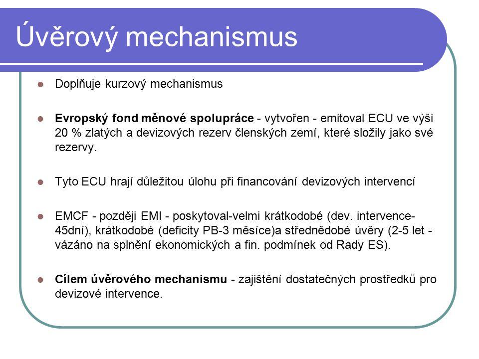 Úvěrový mechanismus Doplňuje kurzový mechanismus Evropský fond měnové spolupráce - vytvořen - emitoval ECU ve výši 20 % zlatých a devizových rezerv členských zemí, které složily jako své rezervy.