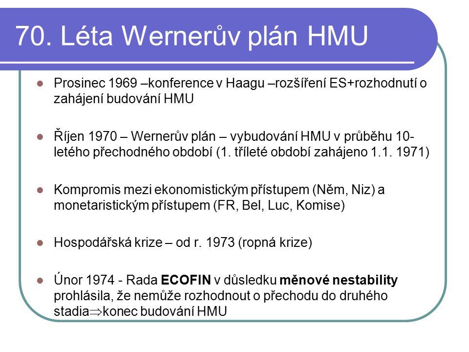 70. Léta Wernerův plán HMU Prosinec 1969 –konference v Haagu –rozšíření ES+rozhodnutí o zahájení budování HMU Říjen 1970 – Wernerův plán – vybudování