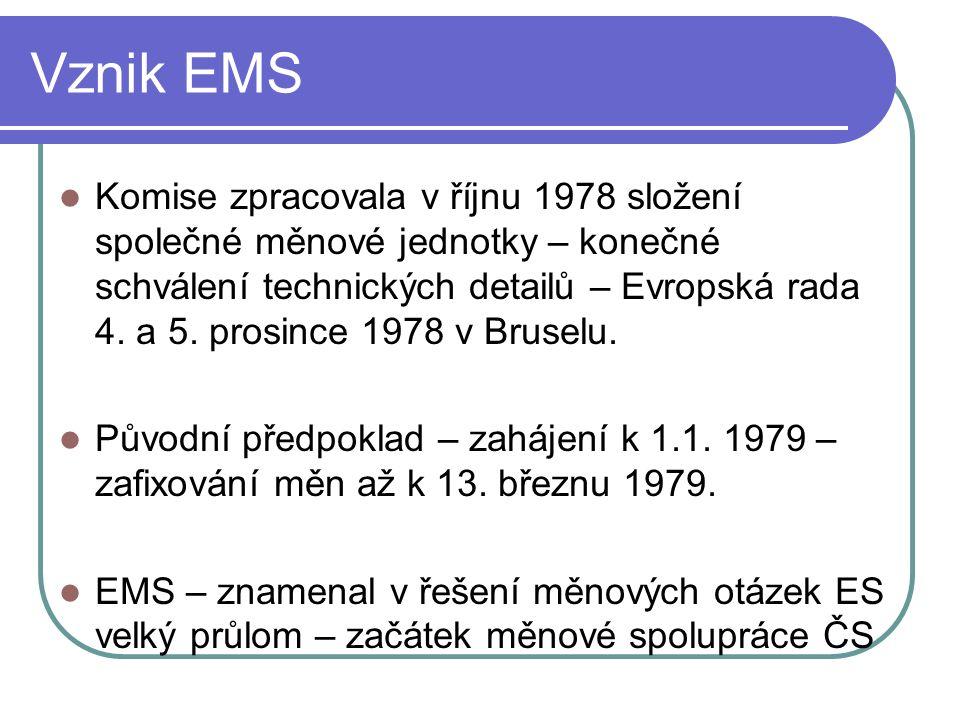 Vznik EMS Komise zpracovala v říjnu 1978 složení společné měnové jednotky – konečné schválení technických detailů – Evropská rada 4.