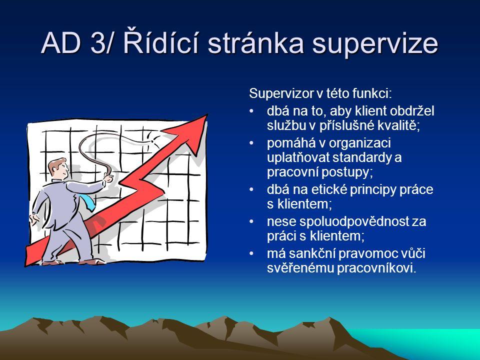 AD 3/ Řídící stránka supervize Supervizor v této funkci: dbá na to, aby klient obdržel službu v příslušné kvalitě; pomáhá v organizaci uplatňovat stan