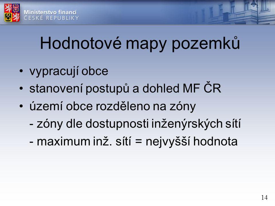14 Hodnotové mapy pozemků vypracují obce stanovení postupů a dohled MF ČR území obce rozděleno na zóny - zóny dle dostupnosti inženýrských sítí - maximum inž.