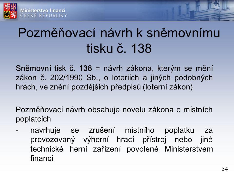 34 Pozměňovací návrh k sněmovnímu tisku č. 138 Sněmovní tisk č.