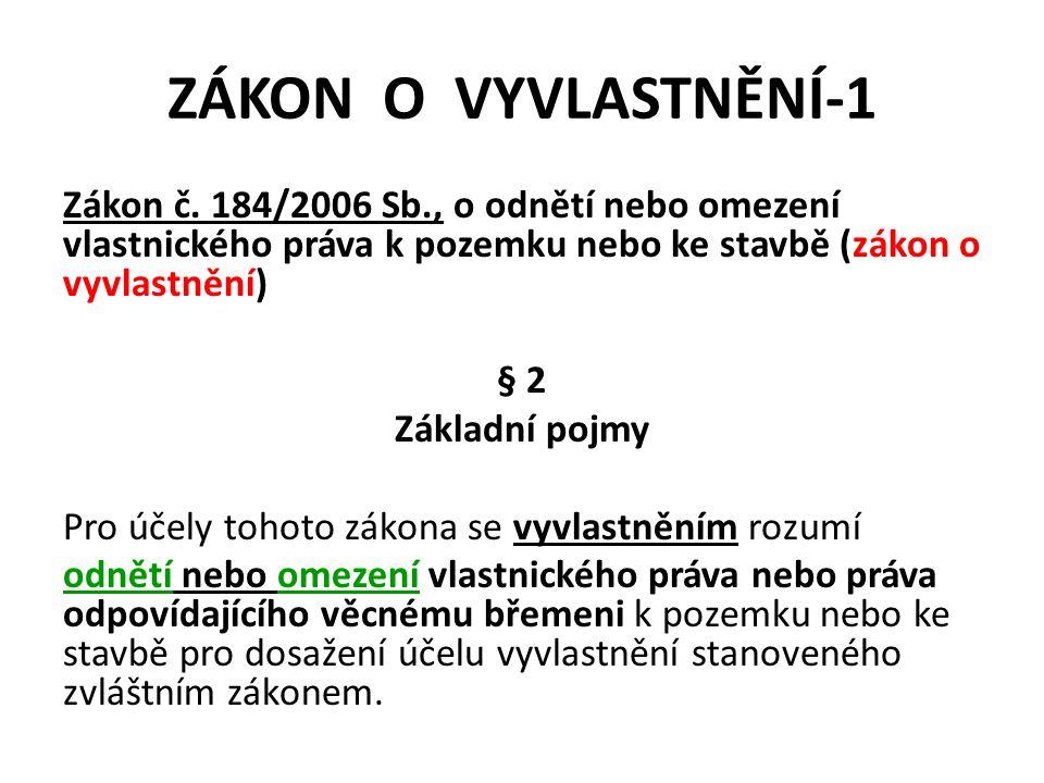 ZÁKON O VYVLASTNĚNÍ-1 Zákon č.