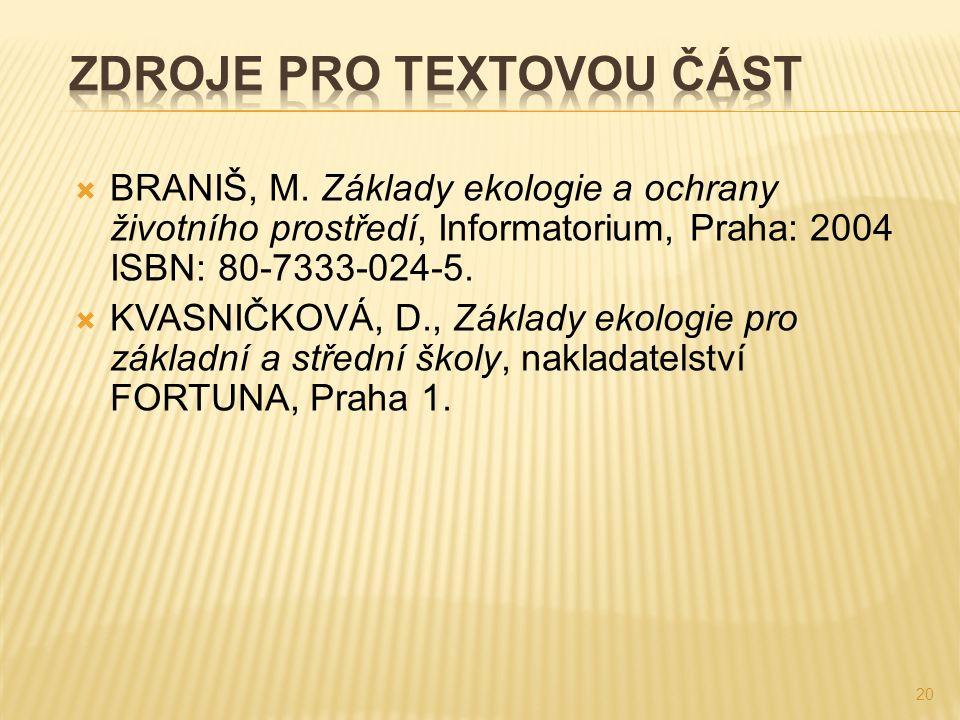  BRANIŠ, M. Základy ekologie a ochrany životního prostředí, Informatorium, Praha: 2004 ISBN: 80-7333-024-5.  KVASNIČKOVÁ, D., Základy ekologie pro z