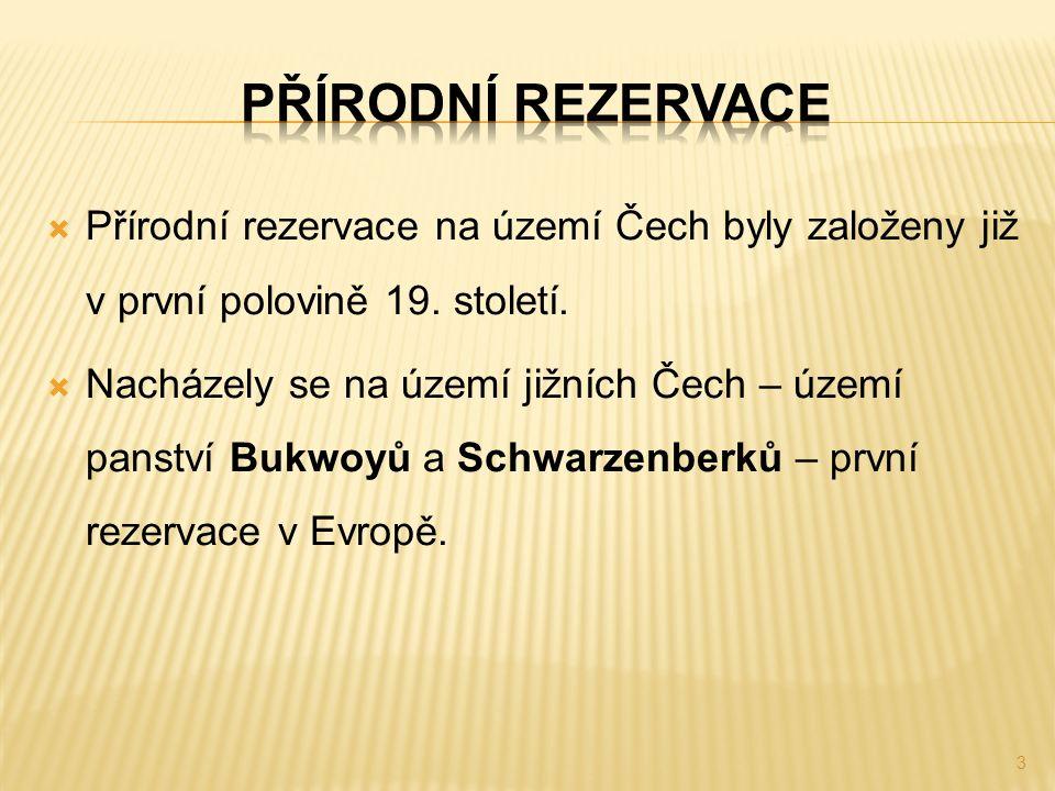  Přírodní rezervace na území Čech byly založeny již v první polovině 19. století.  Nacházely se na území jižních Čech – území panství Bukwoyů a Schw