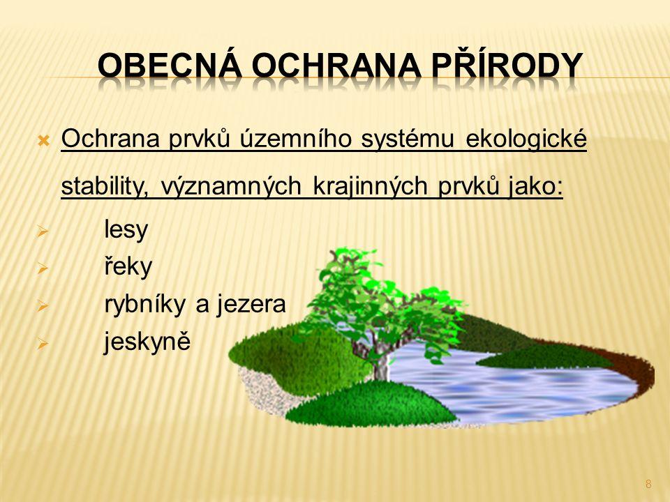  Ochrana prvků územního systému ekologické stability, významných krajinných prvků jako:  lesy  řeky  rybníky a jezera  jeskyně 8