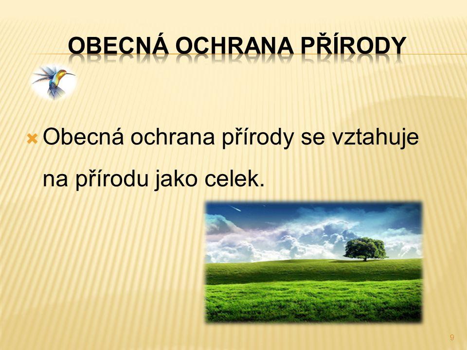  Obecná ochrana přírody se vztahuje na přírodu jako celek. 9