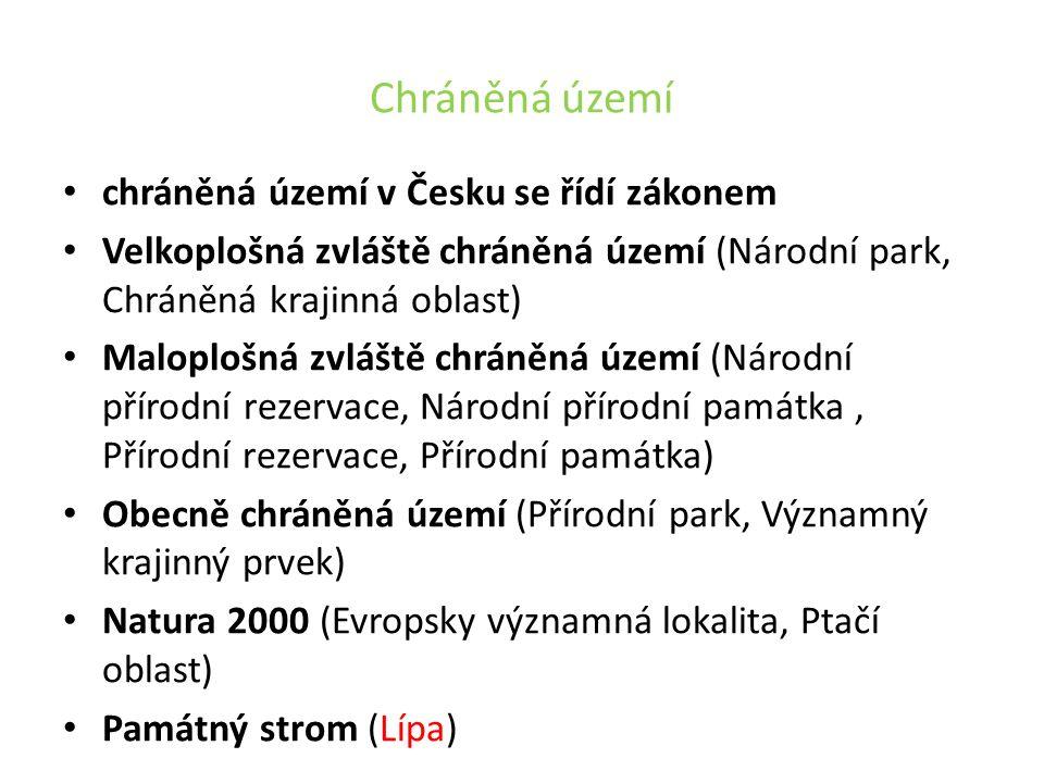Chráněná území chráněná území v Česku se řídí zákonem Velkoplošná zvláště chráněná území (Národní park, Chráněná krajinná oblast) Maloplošná zvláště chráněná území (Národní přírodní rezervace, Národní přírodní památka, Přírodní rezervace, Přírodní památka) Obecně chráněná území (Přírodní park, Významný krajinný prvek) Natura 2000 (Evropsky významná lokalita, Ptačí oblast) Památný strom (Lípa)