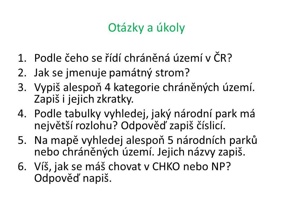 Otázky a úkoly 1.Podle čeho se řídí chráněná území v ČR? 2.Jak se jmenuje památný strom? 3.Vypiš alespoň 4 kategorie chráněných území. Zapiš i jejich