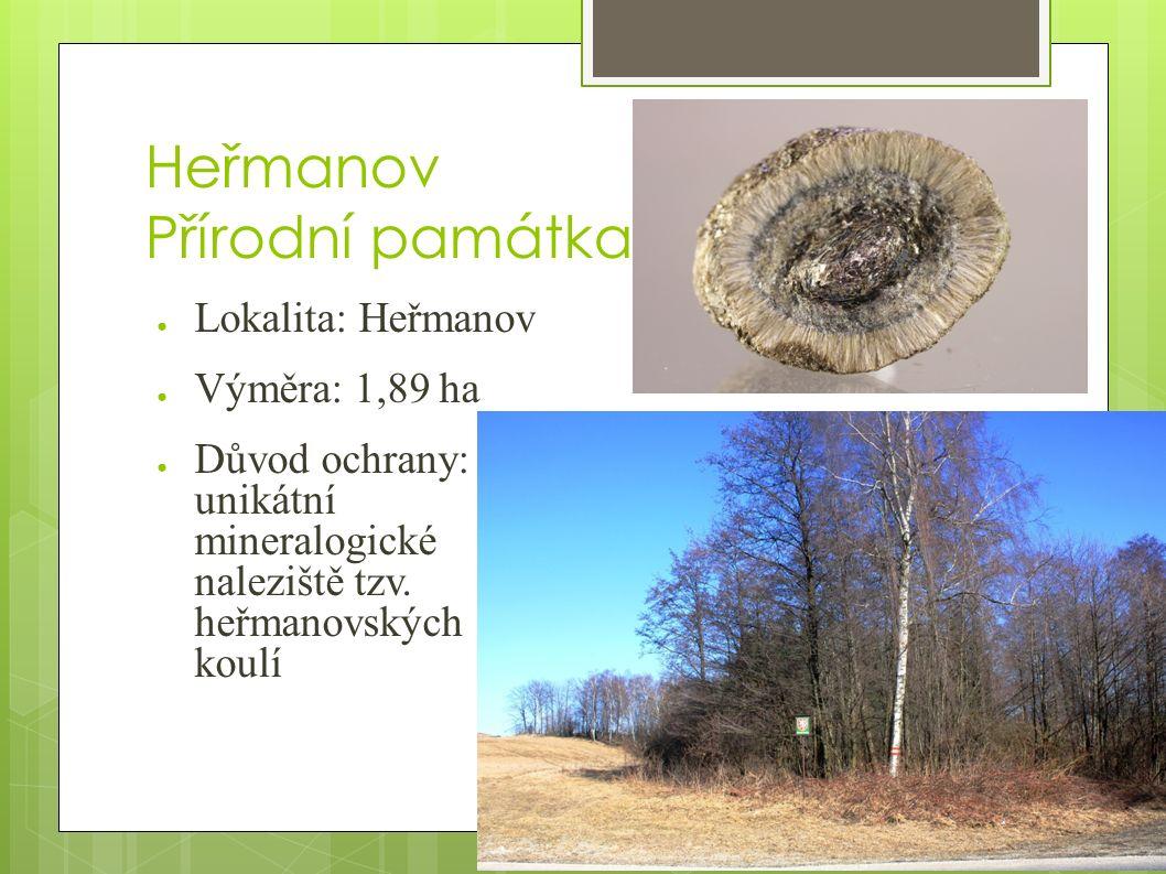Heřmanov Přírodní památka ● Lokalita: Heřmanov ● Výměra: 1,89 ha ● Důvod ochrany: unikátní mineralogické naleziště tzv.