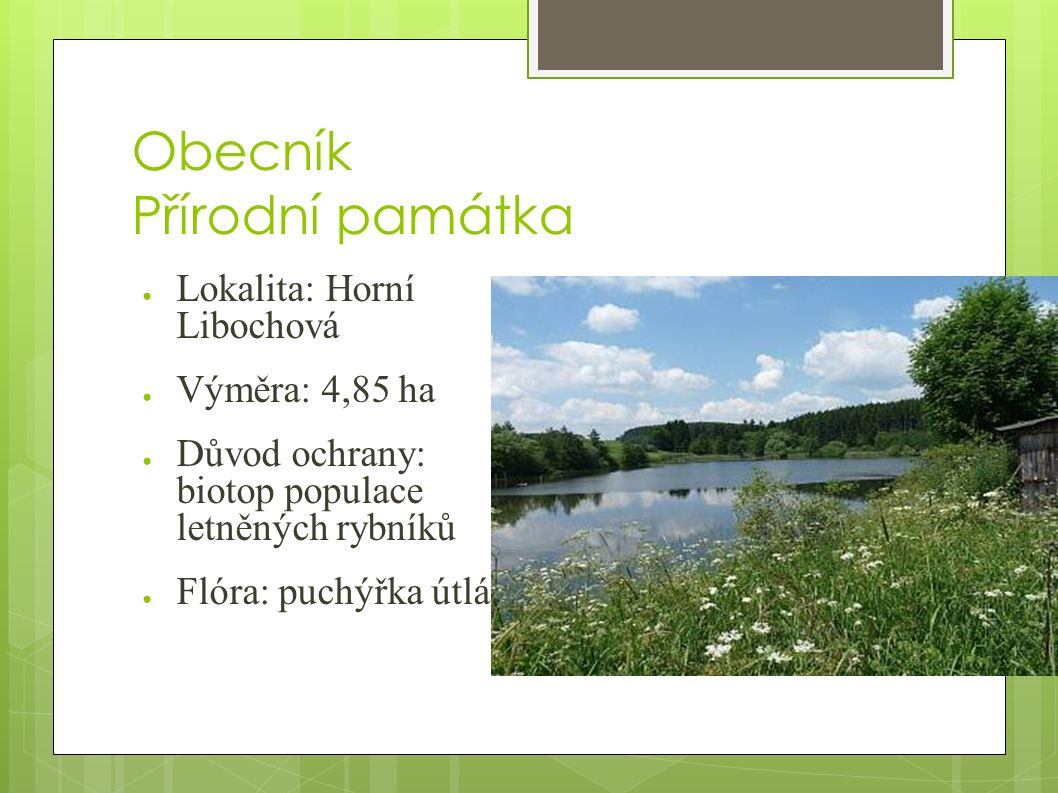 Obecník Přírodní památka ● Lokalita: Horní Libochová ● Výměra: 4,85 ha ● Důvod ochrany: biotop populace letněných rybníků ● Flóra: puchýřka útlá