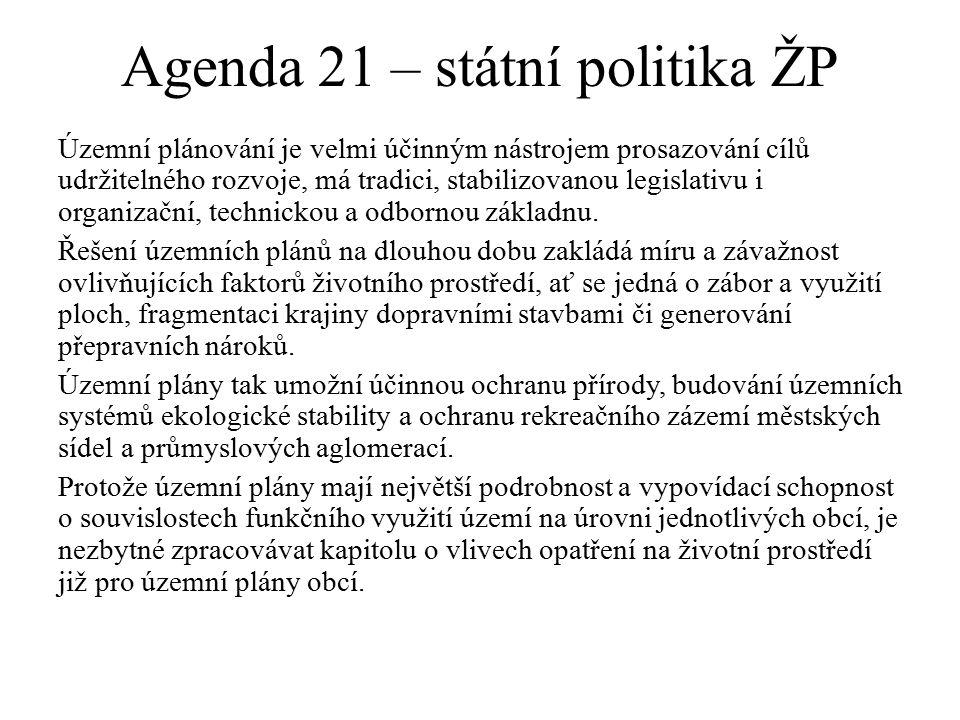 Agenda 21 – státní politika ŽP Územní plánování je velmi účinným nástrojem prosazování cílů udržitelného rozvoje, má tradici, stabilizovanou legislativu i organizační, technickou a odbornou základnu.