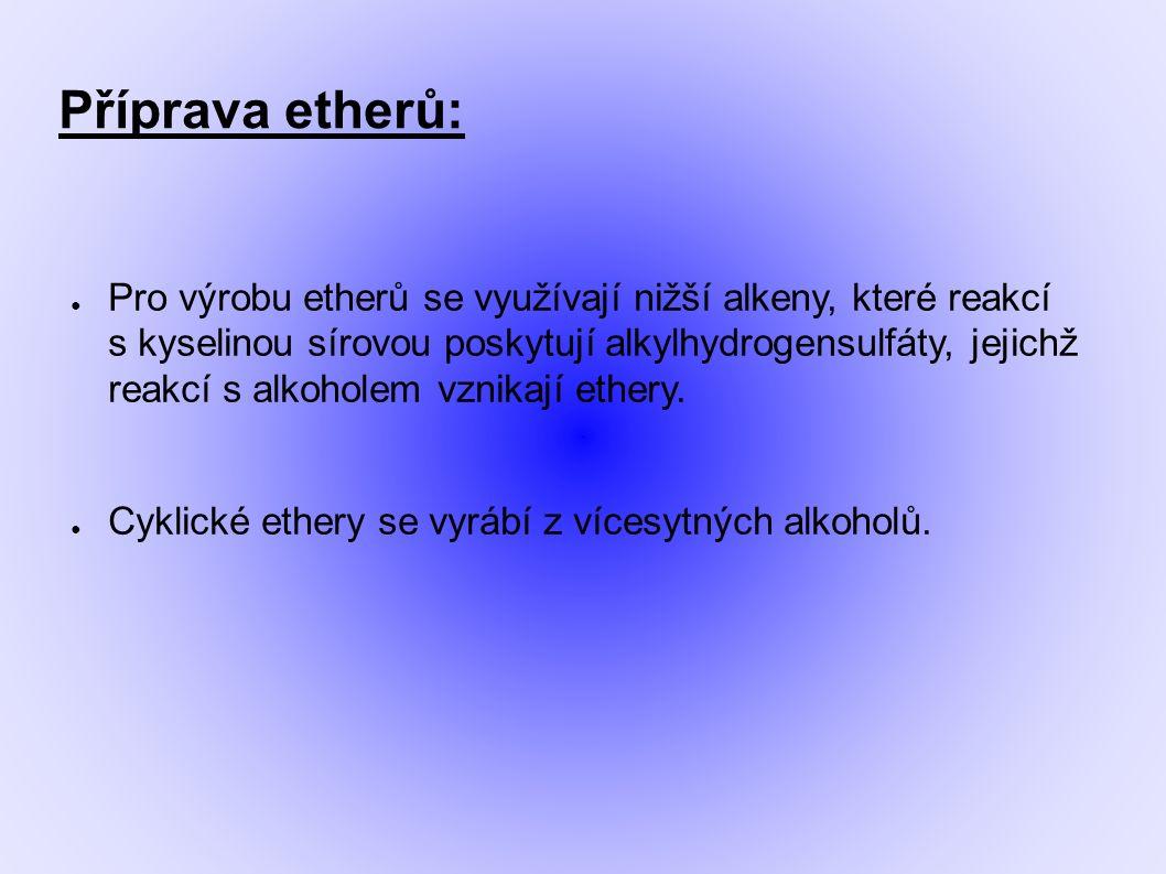 Příprava etherů: ● Pro výrobu etherů se využívají nižší alkeny, které reakcí s kyselinou sírovou poskytují alkylhydrogensulfáty, jejichž reakcí s alkoholem vznikají ethery.