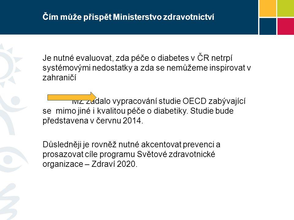 Čím může přispět Ministerstvo zdravotnictví Je nutné evaluovat, zda péče o diabetes v ČR netrpí systémovými nedostatky a zda se nemůžeme inspirovat v zahraničí MZ zadalo vypracování studie OECD zabývající se mimo jiné i kvalitou péče o diabetiky.