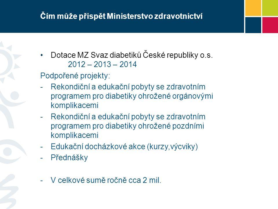 Čím může přispět Ministerstvo zdravotnictví Dotace MZ Svaz diabetiků České republiky o.s. 2012 – 2013 – 2014 Podpořené projekty:  Rekondiční a edukač