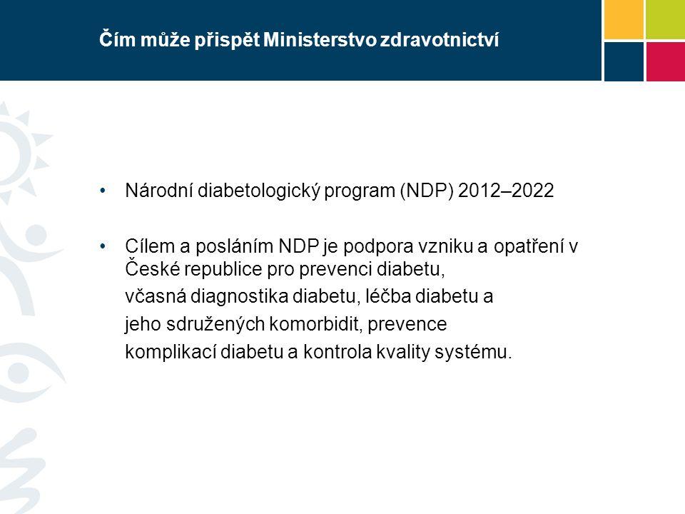 Čím může přispět Ministerstvo zdravotnictví Národní diabetologický program (NDP) 2012–2022 Cílem a posláním NDP je podpora vzniku a opatření v České republice pro prevenci diabetu, včasná diagnostika diabetu, léčba diabetu a jeho sdružených komorbidit, prevence komplikací diabetu a kontrola kvality systému.