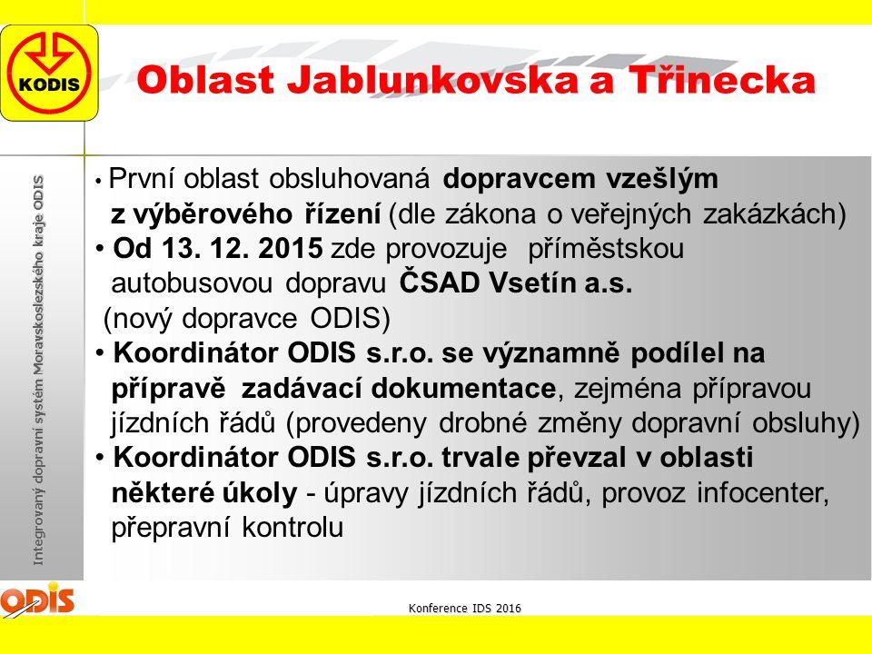 Konference IDS 2016 Integrovaný dopravní systém Moravskoslezského kraje ODIS Oblast Jablunkovska a Třinecka První oblast obsluhovaná dopravcem vzešlým z výběrového řízení (dle zákona o veřejných zakázkách) Od 13.