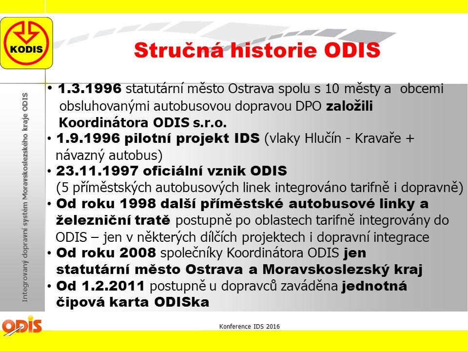 1.3.1996 statutární město Ostrava spolu s 10 městy a obcemi obsluhovanými autobusovou dopravou DPO založili Koordinátora ODIS s.r.o. 1.9.1996 pilotní